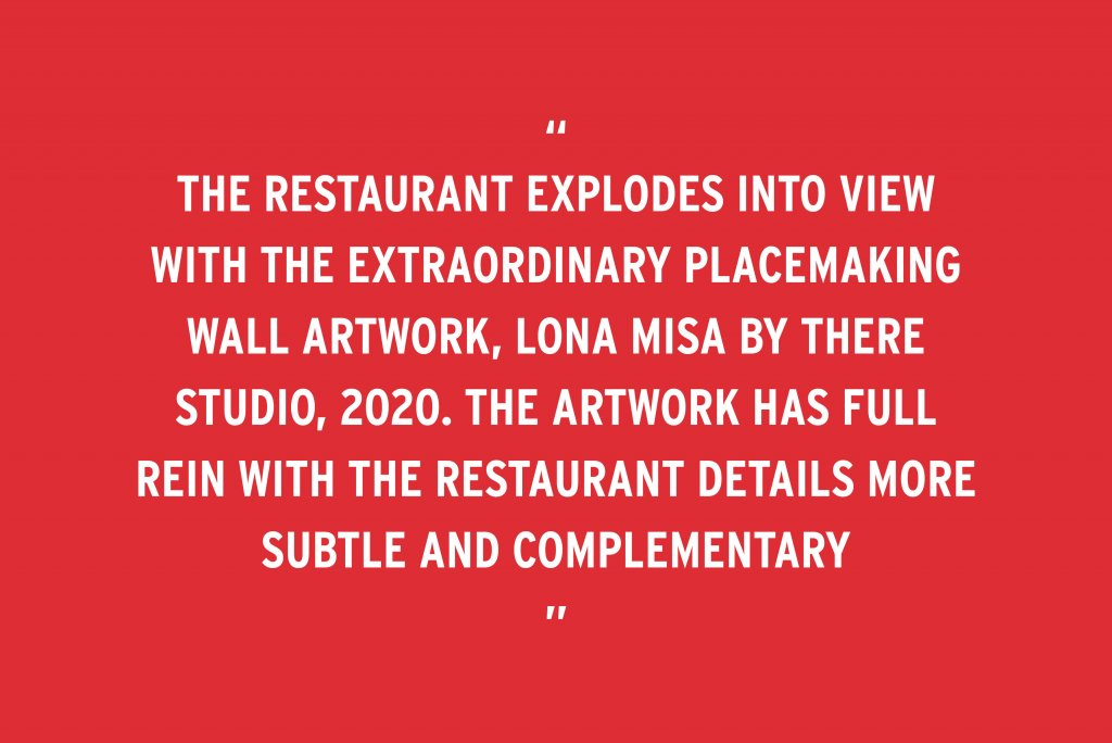 """BLOG POST – Ovolo South Yarra featured in Inside Magazine – Quote """"The restaurant explodes into view with the extraordinary placemaking wall artwork, Lona Misa by THERE Studio, 2020. The artwork has full rein with the restaurant details more subtle and complementary"""""""