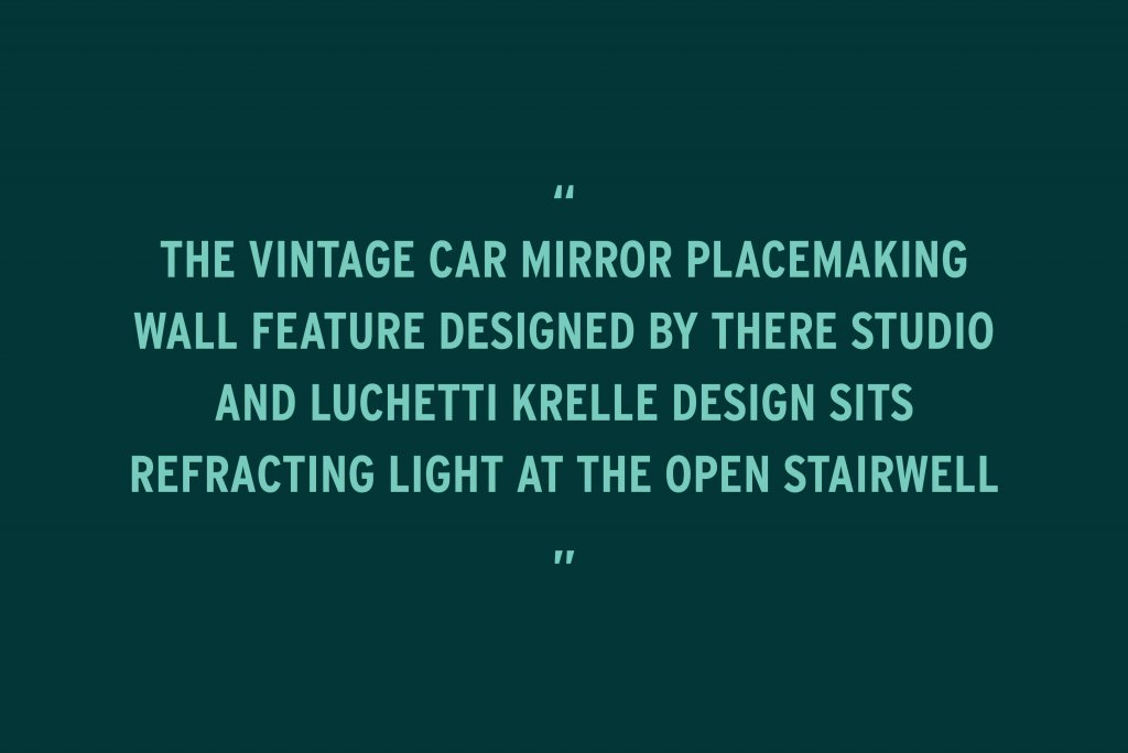 """BLOG POST – Ovolo South Yarra featured in Inside Magazine – Quote """"The vintage car mirror placemaking wall feature designed by THERE Studio and LK sits refracting light at the open stairwell """""""