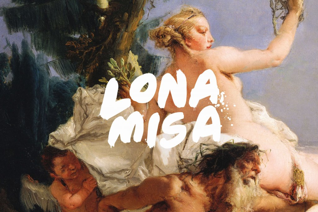Lona Misa Restaurant Identity For Ovolo Hotels, South Yarra – Lona Misa Logo in white on close crop of Renaissance painting with woman, man and cupid