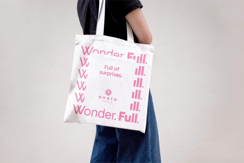 """Ovolo Wonder.Full. Brand Refresh/Campaign – Tote Bag With Typographic Brand Pattern Framing Statement """"Full Of Surprises"""""""